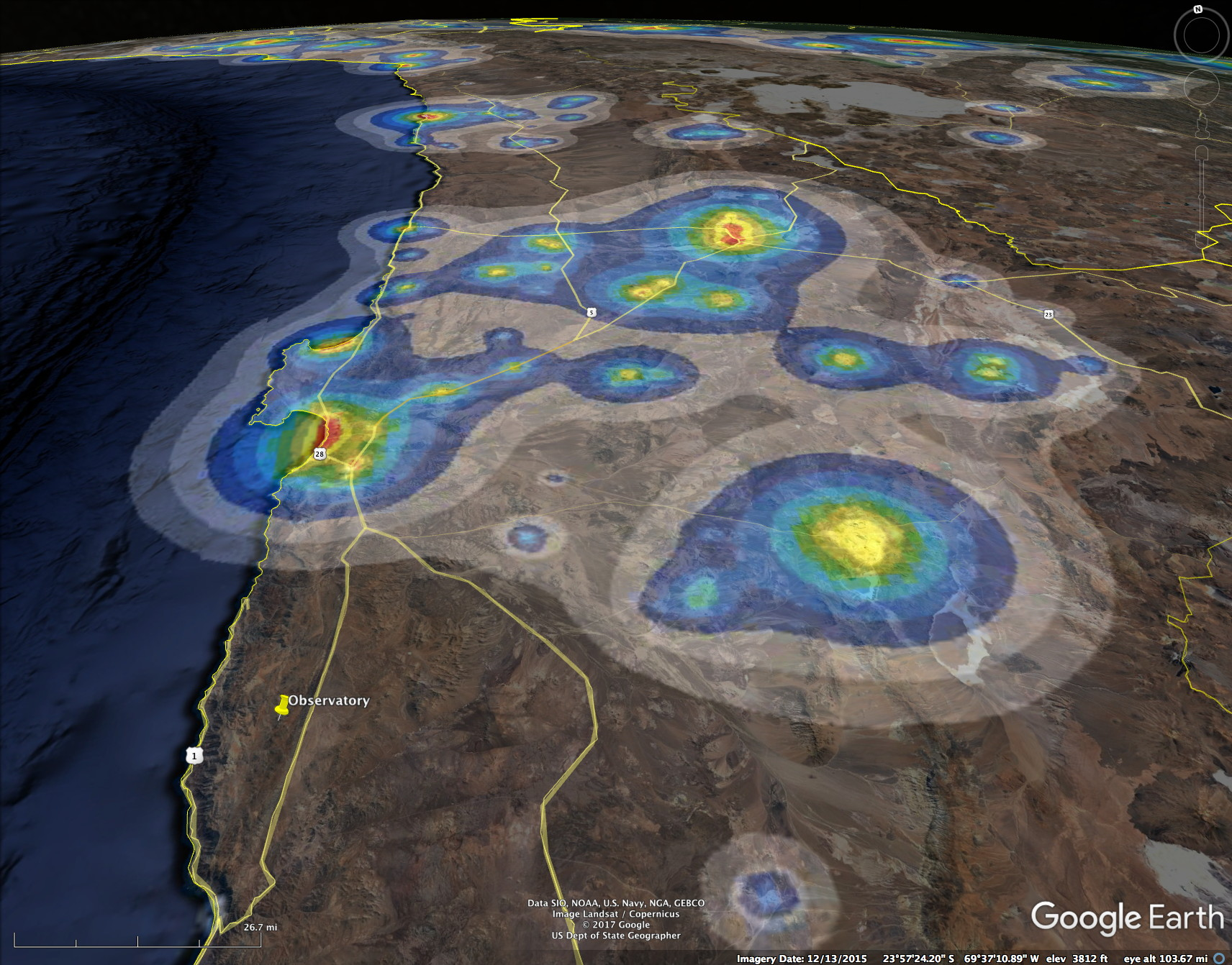 Paranal observatory and light pollution