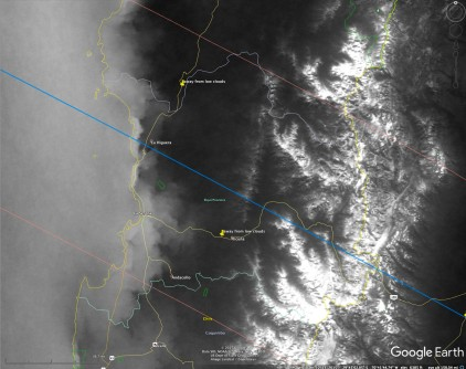 May-October mean cloudiness for e2019 eclipse path across Chile. Brighter is more frequent cloudiness - except over Andes where there is snow contamination artifacts. Yellow pins indicate god observing sites (based on cloud climatology).
