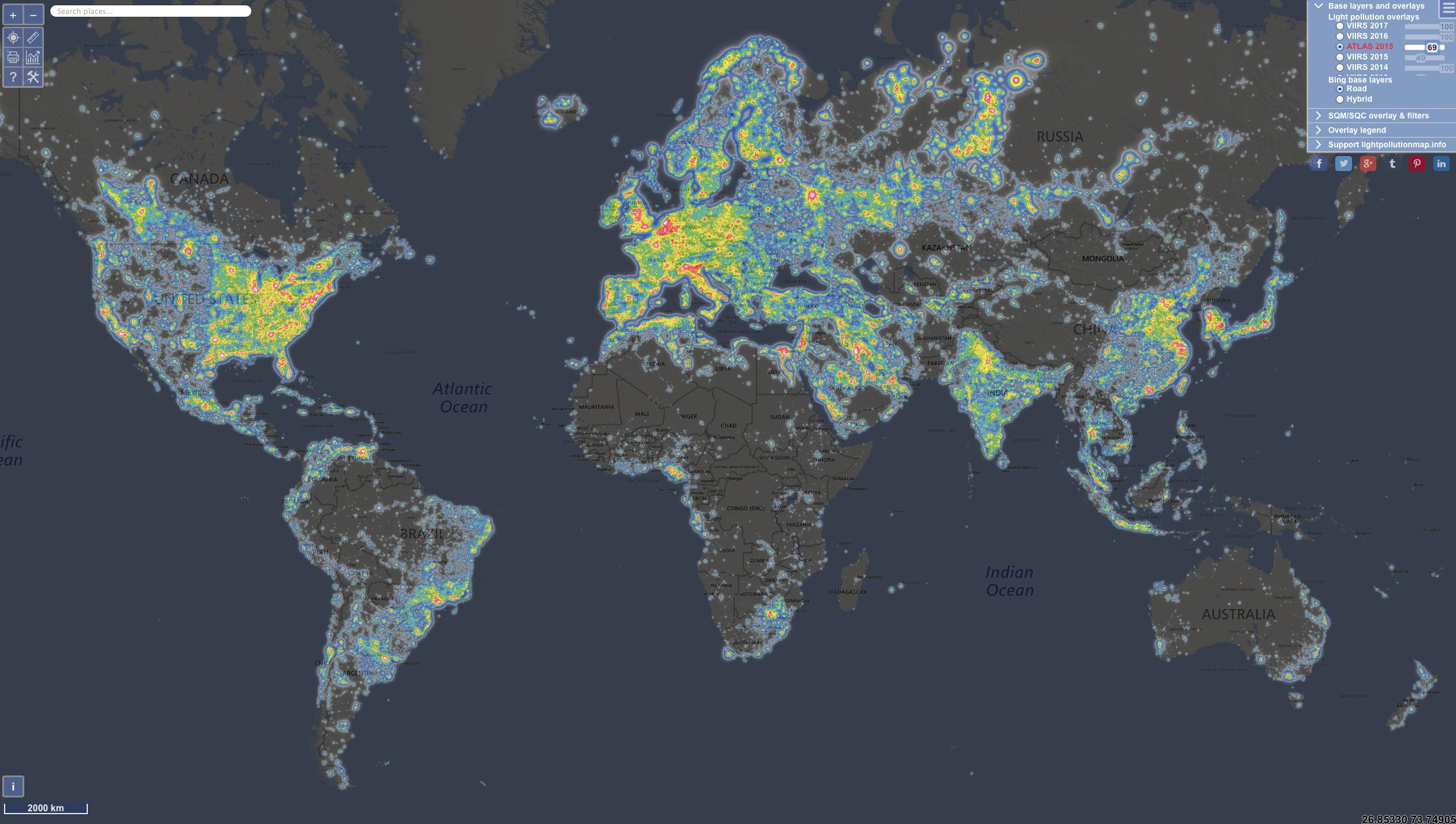 Global sky brightness
