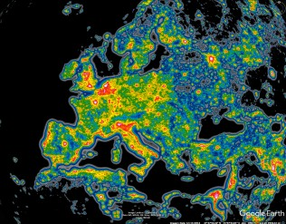 Light pollution over Europe. Dark skies are black, brightest skies are red. Few land areas in Europe have really dark skies.