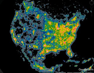Same as European light pollution but for North America - at same scale. Eastern US has few dark sky areas, unlike western US.