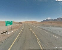 view of Licancabur volcano from possible observing site turnoff