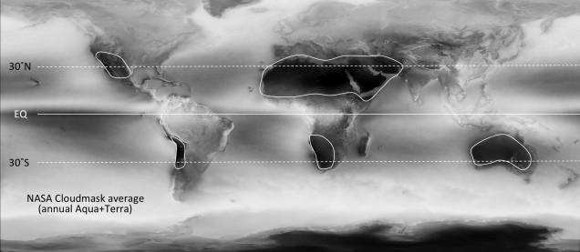 NASA cloudmask product averaged for 6 years and enhanced to emphasize the main areas of minimal cloudiness over land (areas enclosed by the curves. The Sahara - Arabian Peninsula is the largest, but also somewhat difficult of access at times.