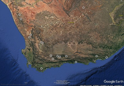 Southwestern South Africa showing locations of farm cottages we have stayed at. The natural history aspects of these areas are described at: https://thetravelingnaturalist.org/botanizing-on-south-african-farms/