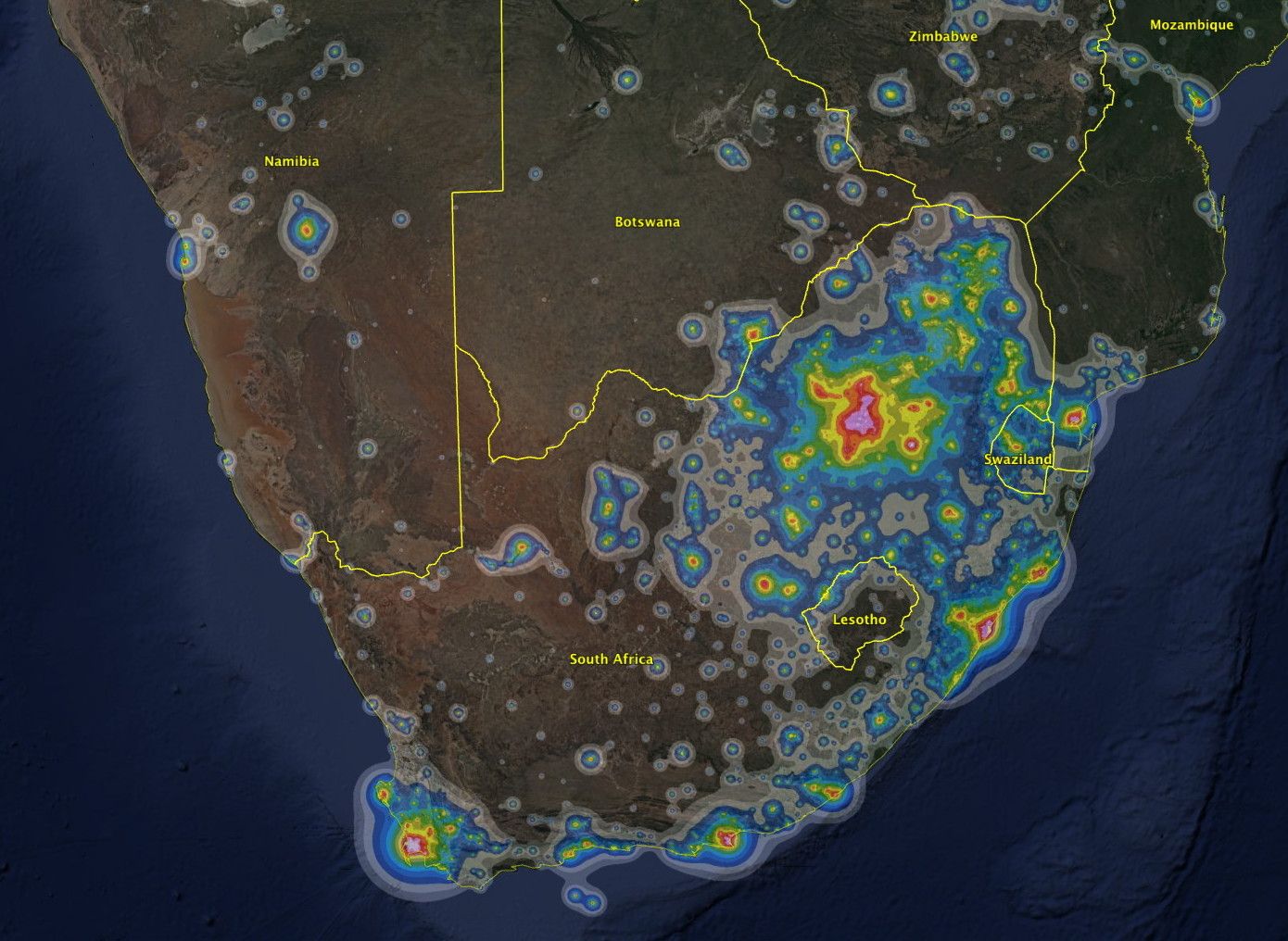 SOUTHERN AFRICA LIGHT POLLUTION