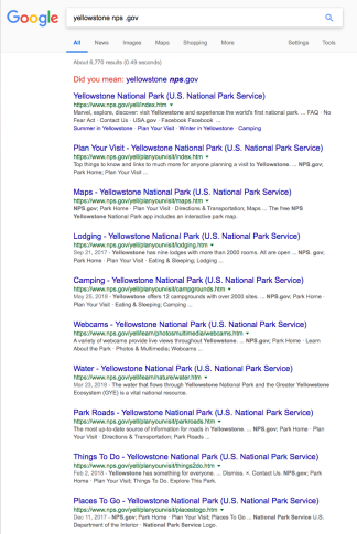 """Google search for """"Yellowstone"""" with nps and .gov added. Now you find the relevant material that is accurate."""