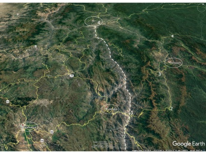 Google Earth view of the lower Rio Marañon canyon. Key towns are shown by ellipses and the numbers indicate: 1) town of Balsas on the river, 2) the Mummy Museum location, 3) The Fortress of Kuelap and 4) good cactus habitat just south of Jaén. Dashed curve is the canyon of the Rio Marañon.