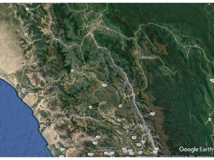 A Google Earth visible imagery depiction of the same area as in the previous two images. The Rio Marañon is depicted in all of the images by the dashed curve.