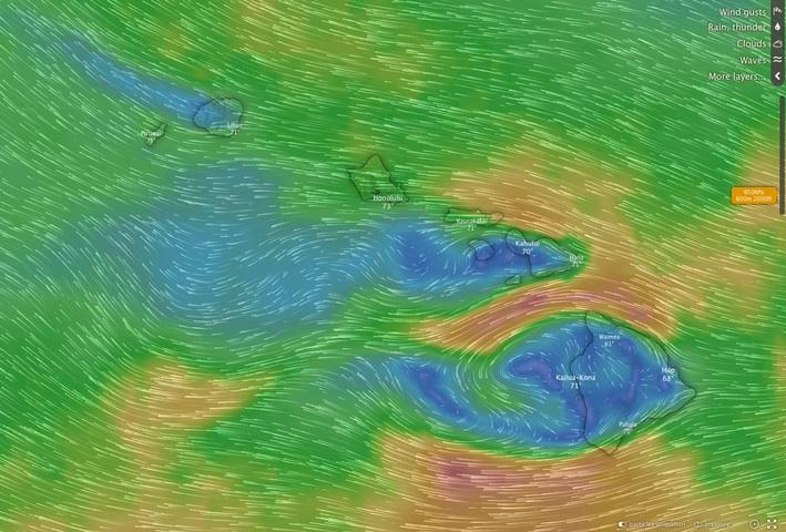 Hawaii ECMWF 29 DEC 2019 fcst 950 mb - about 2000 ft.