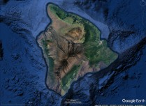 Landscape of Hawaii from Google Earth. High areas are relatively dry, low altitude slopes relatively green.