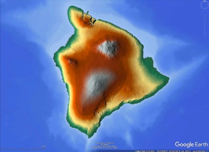 Shaded relief and elevaion for the Big Island. Green is low elevation, silver high.