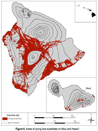 Recent (historical) lava flows on Hawaii and Maui. Contours are every 500m; recent flows above 3000 m on Mauna Loa are not shown.
