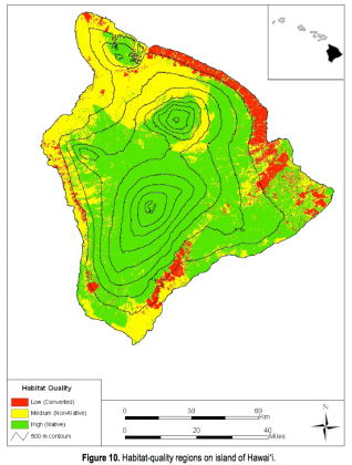 State of vegetation on Hawaii, green is relatively natural landscape, yellow less so and red primarily agricultural and urban. Of course, green doesn't imply forest - the upper elevations of Mauna Loa and Mauna Kea are mostly barren.