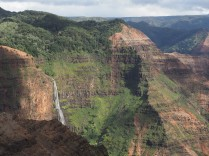 Waimea Canyon and waterfall from one of the lookouts