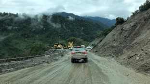 Cleaning up after a major landslide. This work took months.
