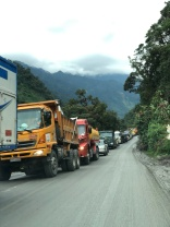 Long line of trucks at the landslide waiting for their turn. Note that most traffic to the Amazon is for the oil (or other) industry - not private vehicles.
