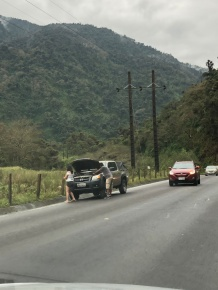 No place to pull off on the main highway from Quito to the Amazon.