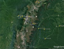 Google Earth natural view of region of Ecuadorean highlands around Quito. The oval shows approximate urban area of Quito (bright land). Our route shown in blue and main birding locations also shown. Toggle with following images.