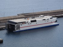 A fast ferry at the El Hierro port. Vehicles load and unload from the stern. This is the other main company - Naviera Armas.