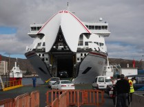 A slower ferry of another ferry company (Naviera Armas). This is larger and loads by the front.