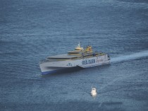 A fast ferry of the Fred Olsen company. These travel at about 40 knots.
