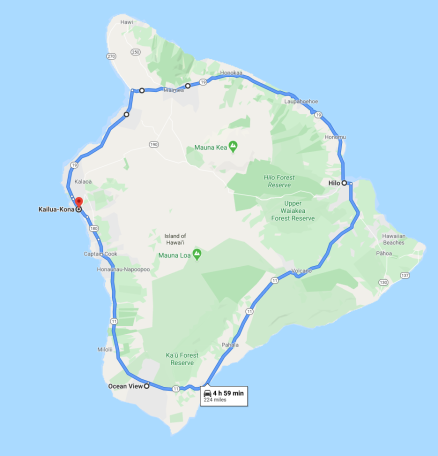 A circumnavigation of Hawaii takes about 5 hours without any stops.