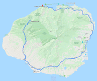 Kauai has relatively light traffic compared with Oahu, but only one route goes around most of the island so the travel can be slow. This route here goes to the farthest lookout in the state park above Waimea Canyon - a popular tourist route. Note that you cannot drive completely around Kauai. This is similar to Oahu,