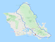 "Oahu, a small island, can be driven around in ""just"" 2 hrs 50 minutes! And this route doesn't even cover the western part of the island. You cannot drive around the northwest corner of Oahu - no road passes this point."